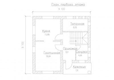 План первого этажа S-125-1P