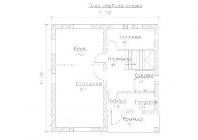 План первого этажа дома S-170-1P