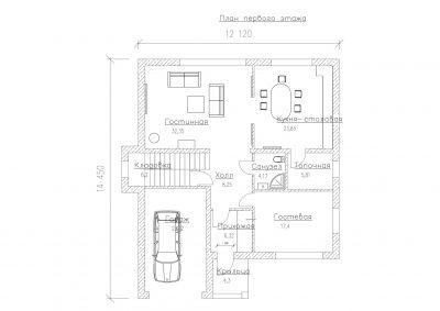 План первого этажа S-244-1P