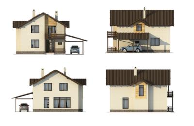 Фасады дома j-208-3p
