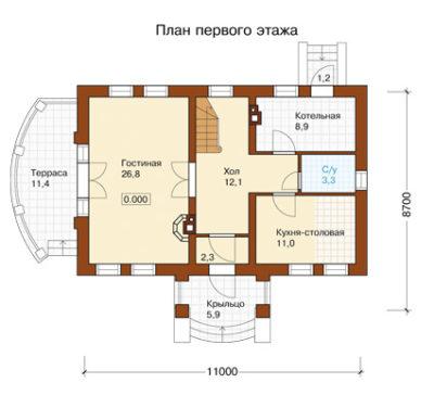 План первого этажа дома k-155-1p-p11