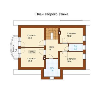 План второго этажа дома k-155-1p-p21